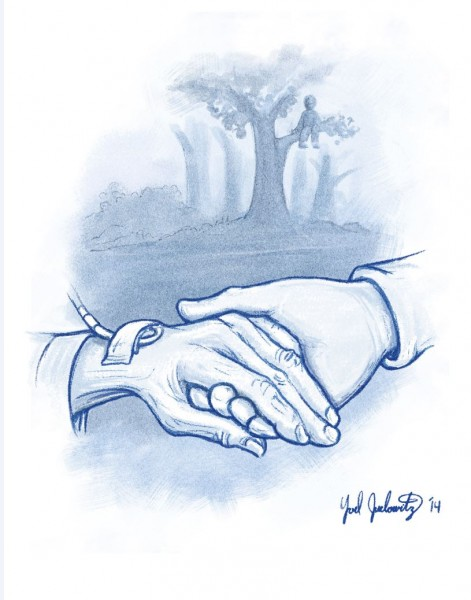 old hand holding young illustration