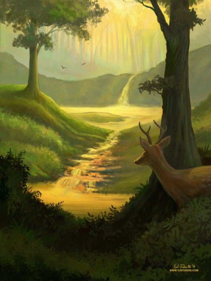 Deer in Forest with Lake Painting