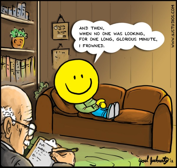 smiley at psychologist cartoon