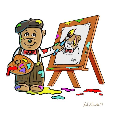 teddy bear artist paintingat easel