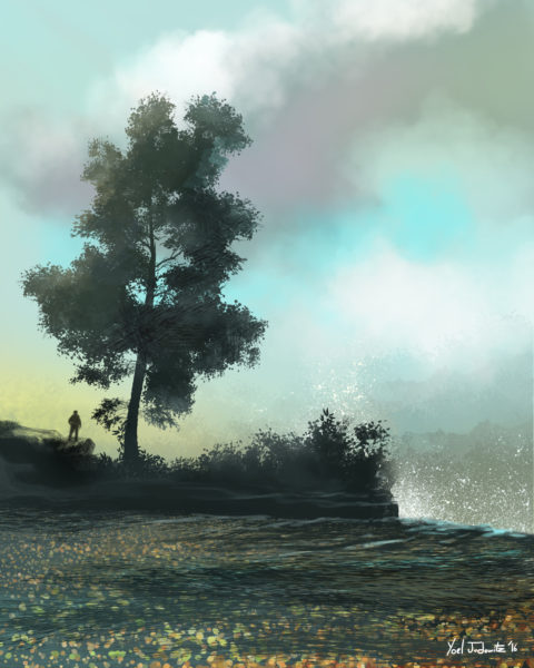 tree by waterfall painting